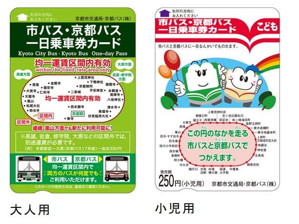 京都市営バスと京都市バスのお得なフリーパスチケット「1日乗車券」