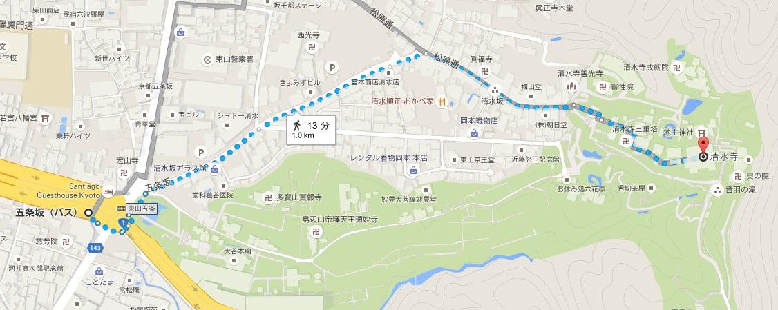 五条坂バス停で下車した場合の清水寺までの徒歩のルート