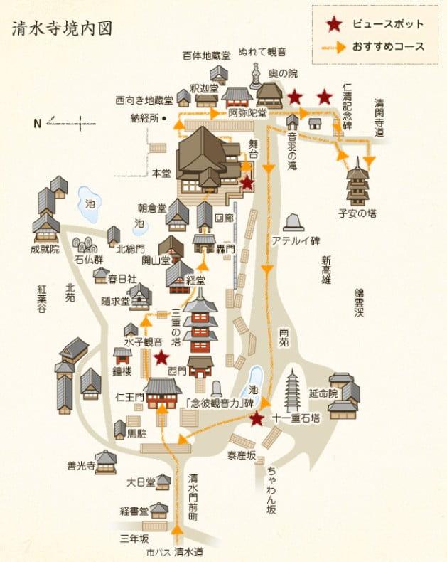 京都・清水寺の境内の地図