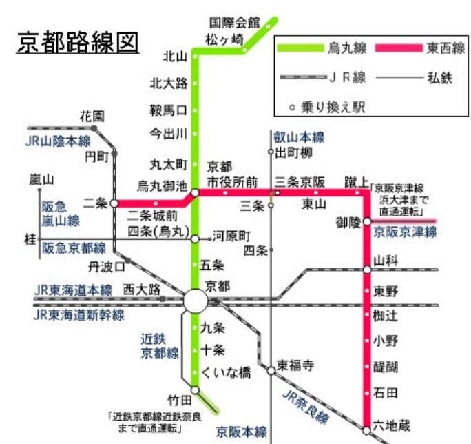 近鉄電車の場合、新田辺・奈良方面から来る電車の中に、途中の竹田駅から、「地下鉄烏丸線」に乗り入れるものがあります。