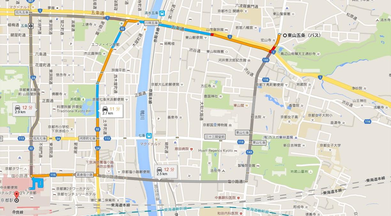 JR京都駅から東山五条バス停までの地図