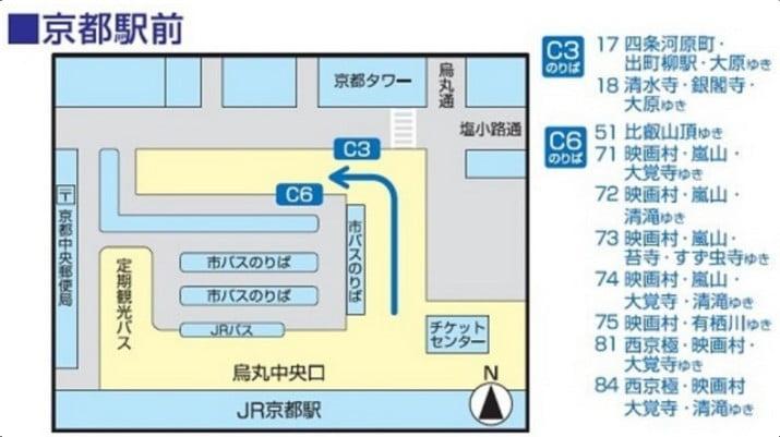 JR京都駅の京都市バスの「のりば案内(地図)」