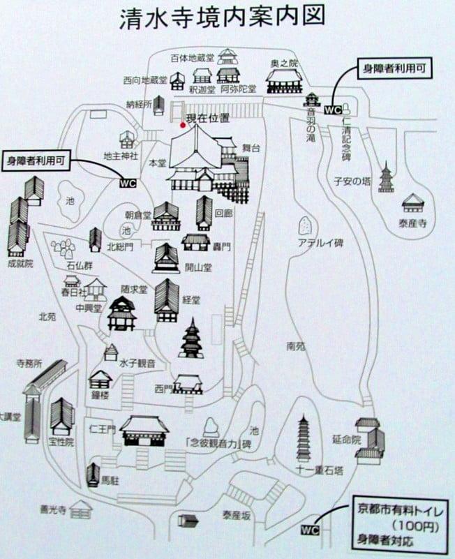 京都・ 清水寺の境内の地図
