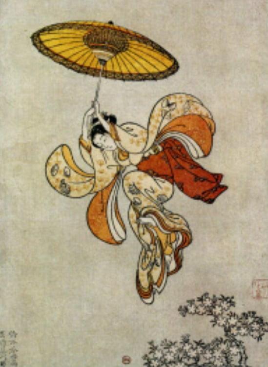 ↑鈴木春信・1765年(明和2年)作「清水舞台より飛ぶ女」
